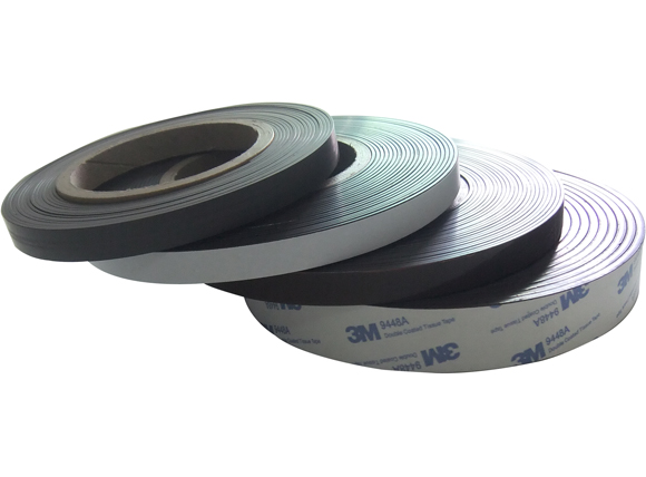 Adhesive backed magnetic strips